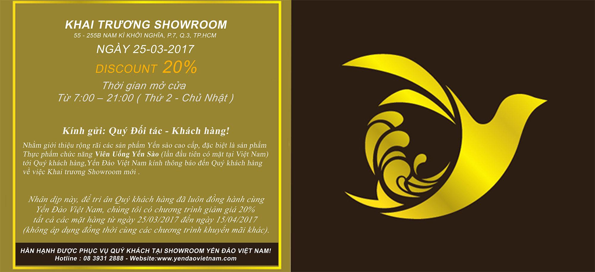 Yến Đảo Việt Nam - Khai trương Showroom tại TP HCM